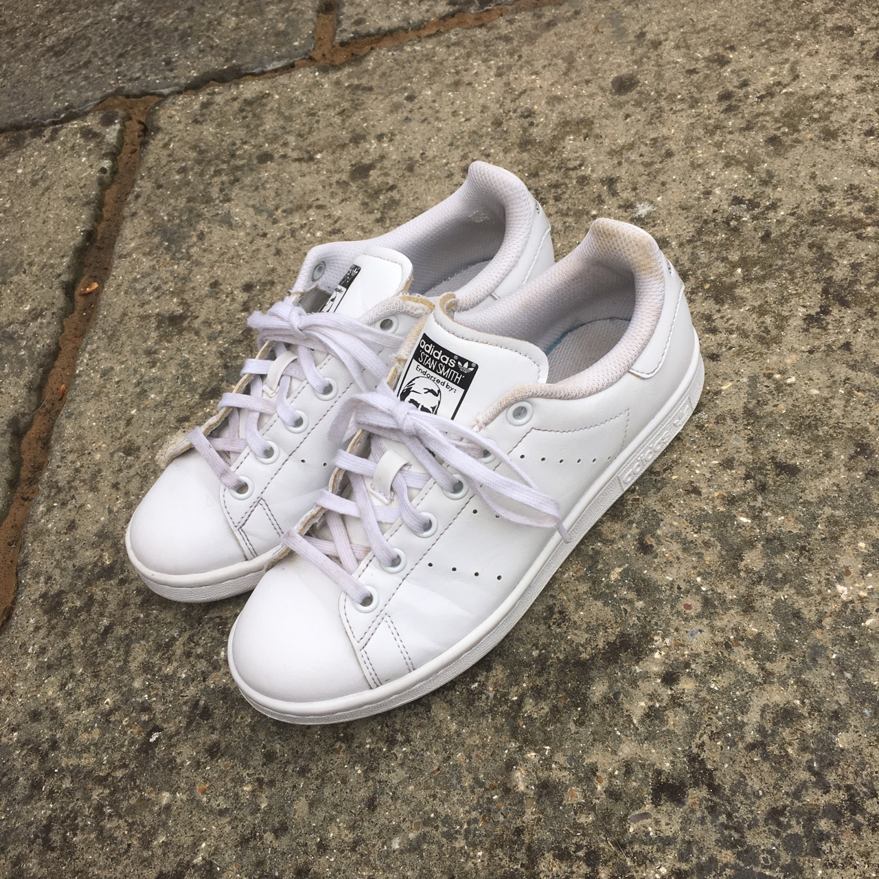 hot sales 04a6f 60a7d All white Adidas stan smith trainers. Worn with... - Depop