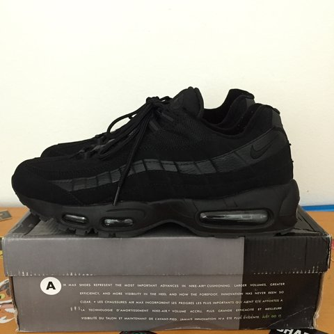 1795af436b0ceb Nike Air Max 95 Triple Black. Size 11. Worn once (can pass - Depop