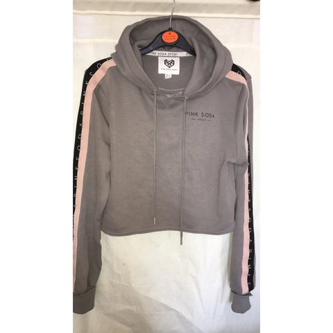a0f8cd0d1bb60d Pink soda cropped grey hoodie. Still in perfect condition. 8 - Depop