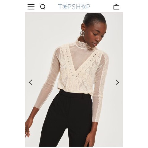 e463cfc8cca88 Topshop high neck lace top🌸 The sleeves and back is sheer
