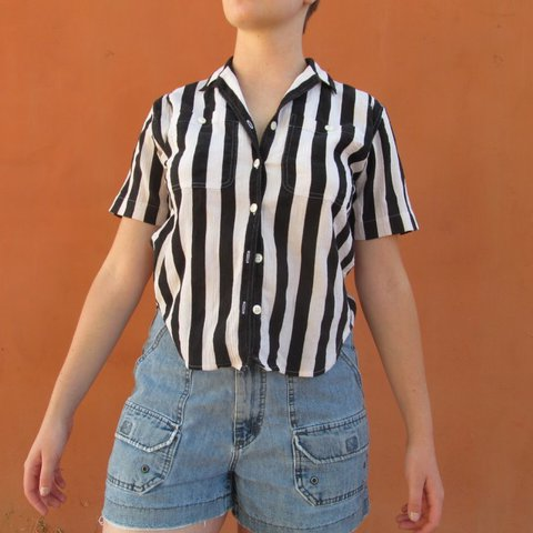 1b8c5377 @franklychris. 2 years ago. Santa Margarita, United States. Beetlejuice  black and white striped button down shirt by Liz Claiborne ...