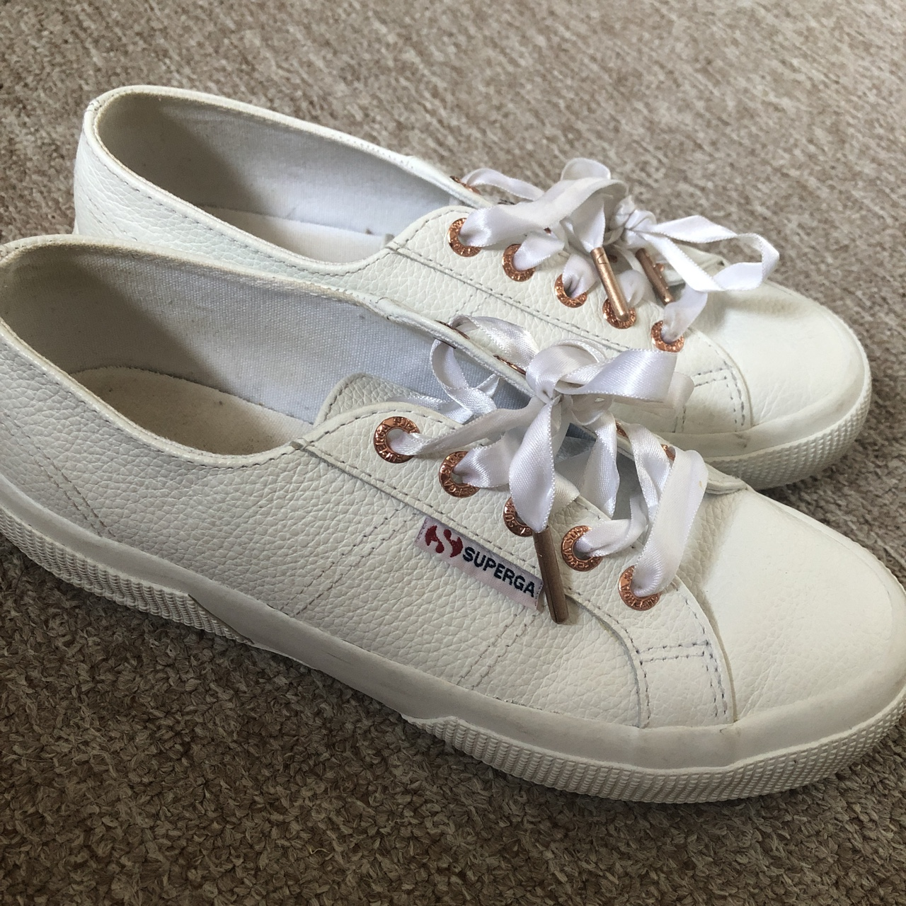 White Superga leather trainers with