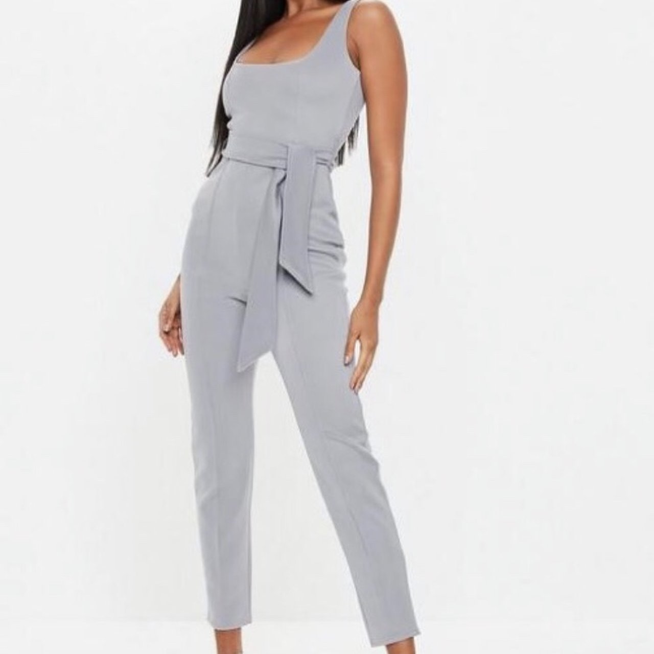 c05414ad219 Missguided grey belted pintuck slim