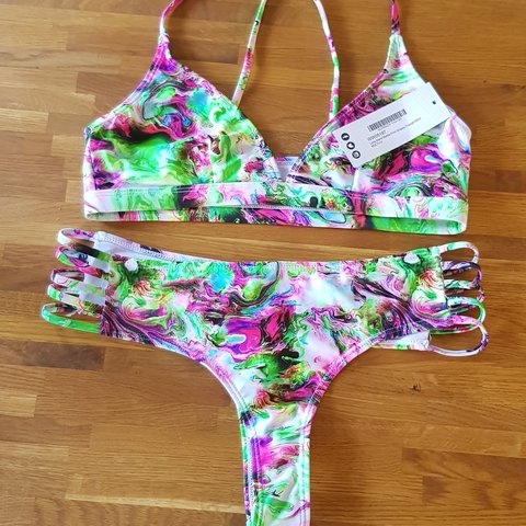 384001ca54 Boohoo Marble Print Thong Bikini. Bought for my holiday but - Depop