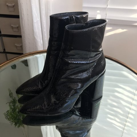 16080f6b1 @elifyilmazzz. 4 months ago. London, United Kingdom. TOPSHOP BLACK PVC  SHINY ANKLE CHUNKY POINTED HEELED BOOTS