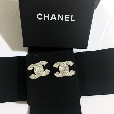 a83458168 @beautystore. 3 years ago. London, UK. Large double CC Logo CHANEL earrings.  With original packaging.