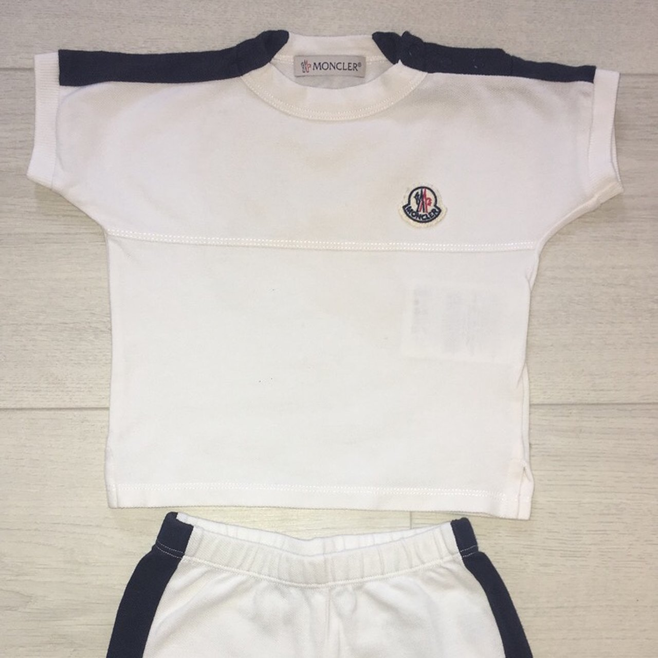 6ec173297 Private Listing - Moncler Baby Boy Top & Shorts Set. White & - Depop