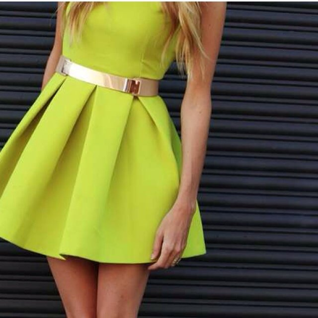 50e9bc30bb60 Neon Lime green backless skater dress size 8 from AQ AQ Only - Depop