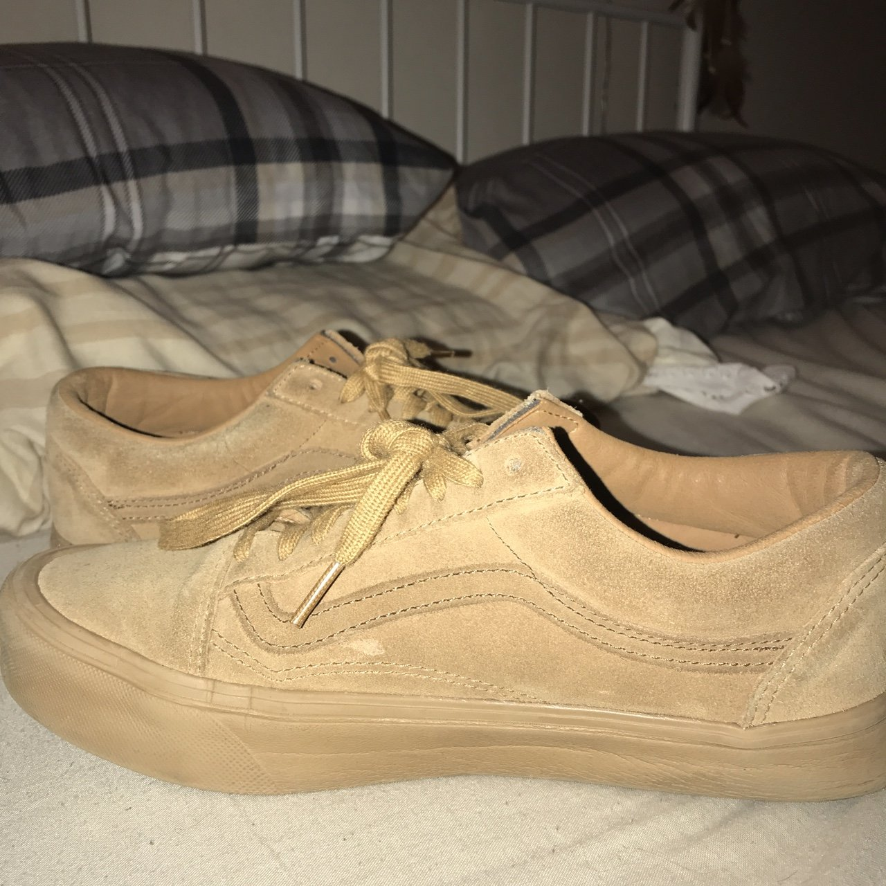 422dbbb408 TAN BROWN NUDE SUEDE VANS SIZE 6.5 but fits size 6 (they re - Depop