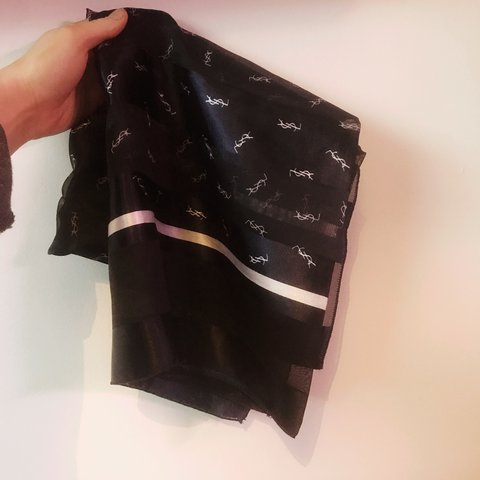 0d9b0508702e Genuine YSL navy and white squared scarf. Has a bit of wear - Depop