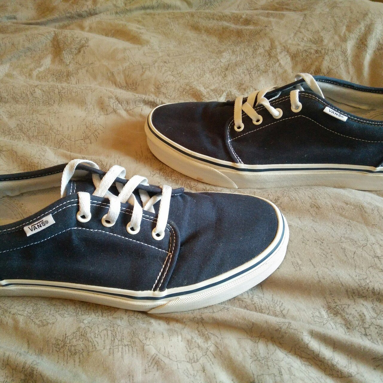 Pair of navy Vans size UK 8 US 9 in good condition only worn - Depop 035b70661