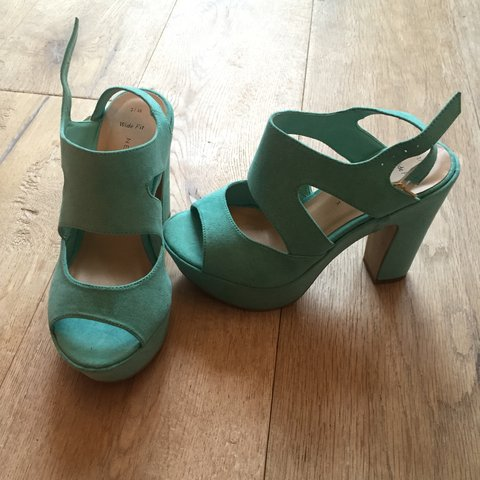 Turquoise chunky heels from Newlook