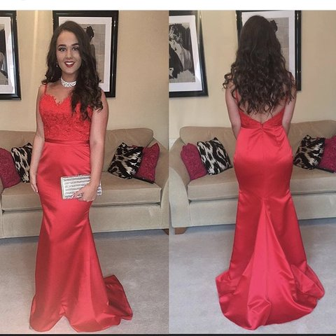 a718db7d4448 @donnacatherineferri. 5 months ago. Dundee, United Kingdom. Red fishtail prom  dress