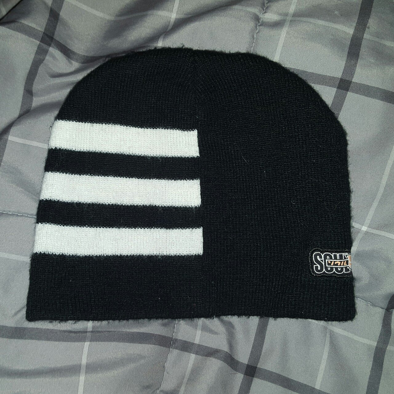 4fc14880af7 Official Soul Eater Death the Kid stripes beanie. Heavily to - Depop