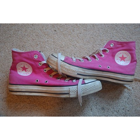 fa906102ec Pink converse, a couple of marks but nothing a good clean of - Depop