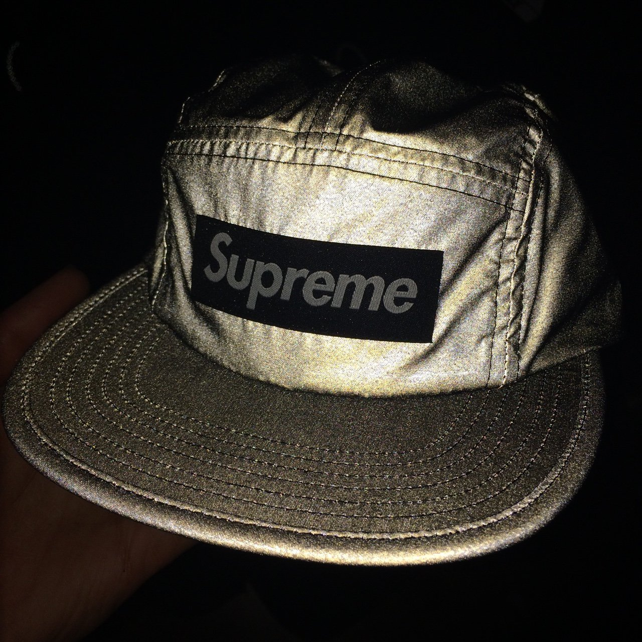 Supreme reflective 3M camp cap hat in black DS - Depop 0a1b2f8e3f5