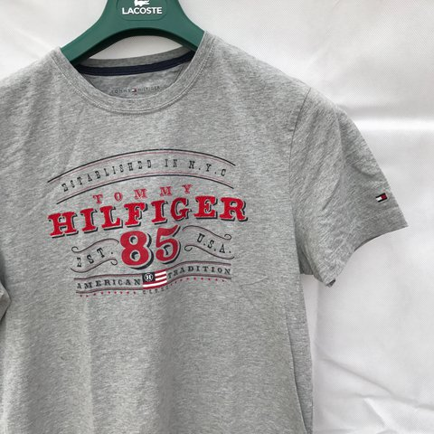 e435f88e02cb1b Vintage Tommy Hilfiger Spell Out grey tee t Shirt for sale. - Depop
