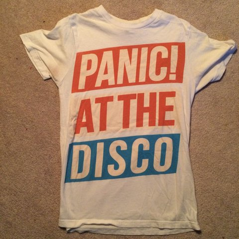 f6e76508 VINTAGE incredibly cute white panic! at the disco tee shirt - Depop