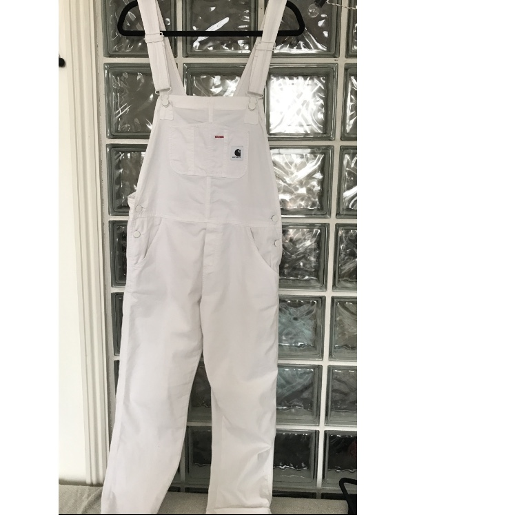 elegant shoes clear and distinctive purchase newest CARHARTT WIP women's white overalls dungarees |... - Depop