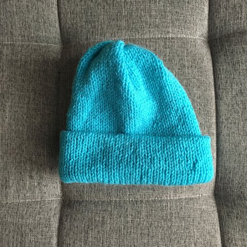 New heavy plain knit blue beanie in a bright pastel blue and - Depop 91980f0a21a