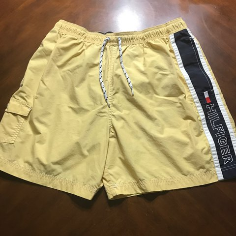 c7662c9fc4 @jeirpenuelas. 2 years ago. Arizona, USA. Tommy Hilfiger Yellow Flag Spell  Out Embroidered Swim Trunks ...