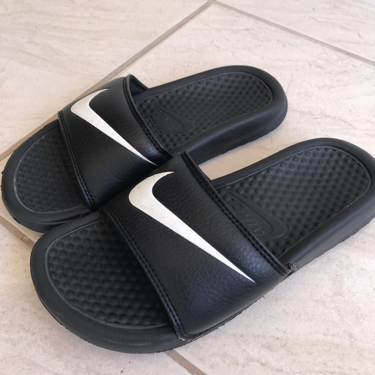 blk nike slides! size 5. in good condition with small signs - Depop d7f1c8274