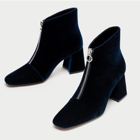 2c1f238982f Blue velvet heeled ankle boots from Zara with a silver ring - Depop
