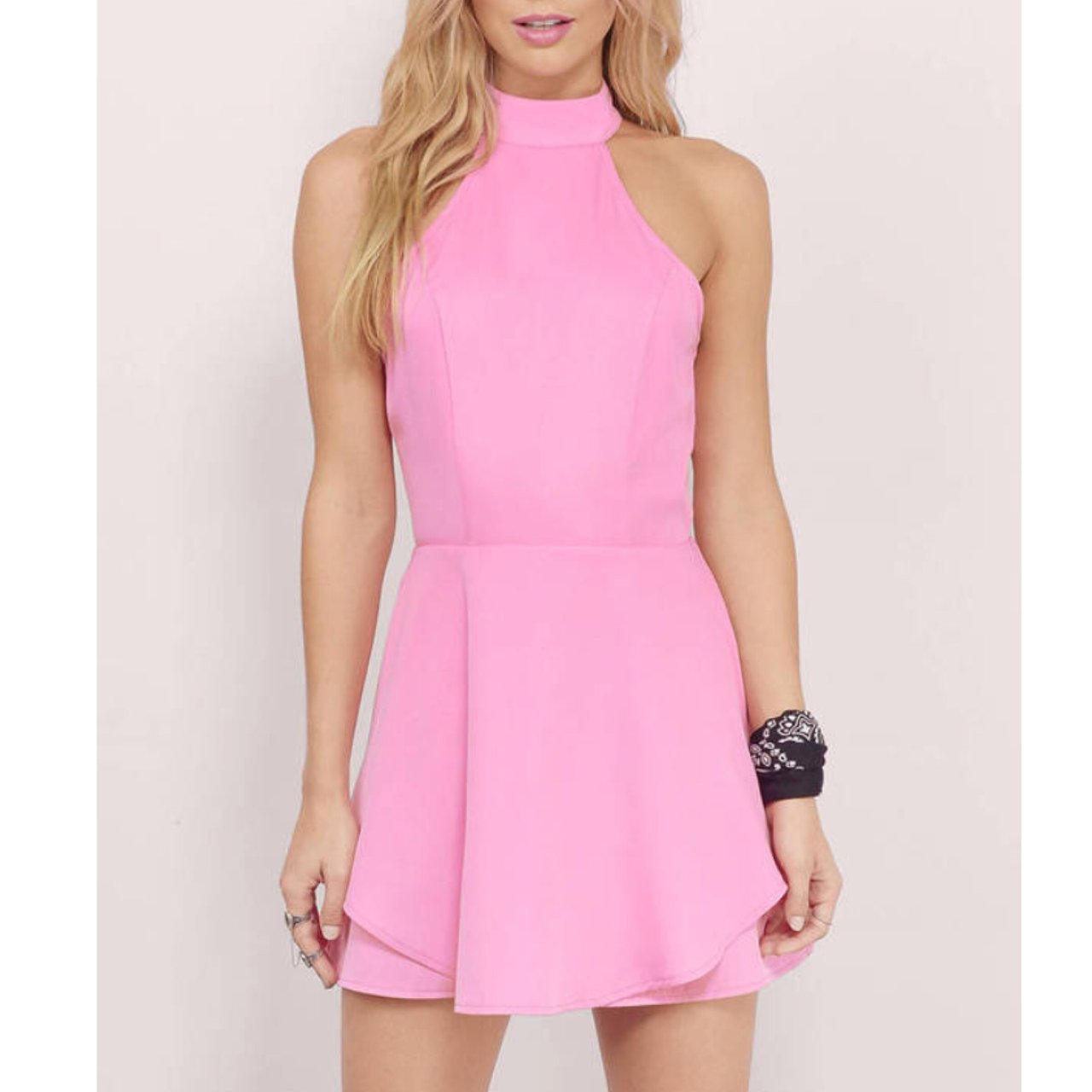 ded31849a8 Tobi Love   Lust pink high neck skater dress The color is - Depop