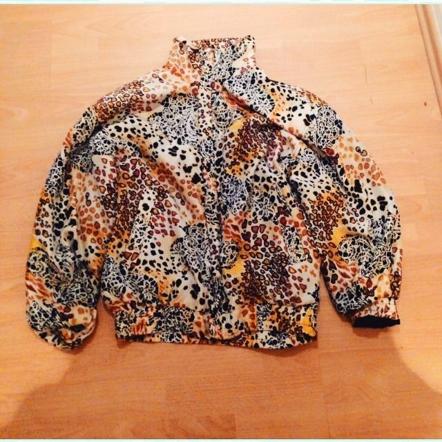 Leopard Print Bomber Jacket Silky Material Its A Sm On Depop