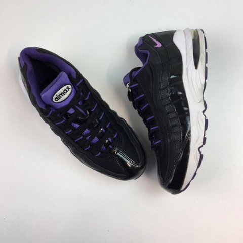b2e7fc893ca7f Black and Purple Nike 95 shoes Size 6 Great condition with - Depop