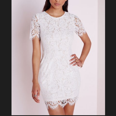 52d194572f3 Gorgeous white   nude lace bodycon dress from missguided