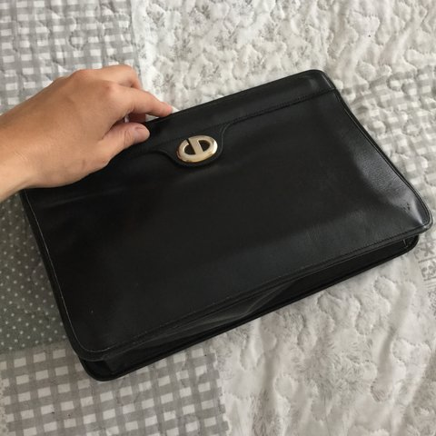 67b3809f0a @elengola. 10 days ago. London, UK. Selling this Rare Vintage Authentic  Christian Dior Black Leather Purse ...
