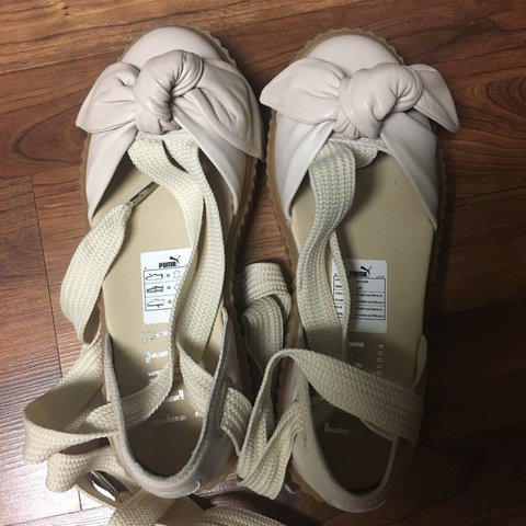 0cae1a167ffbcb Fenty Puma bow creeper lace up sandals in oatmeal color. new - Depop