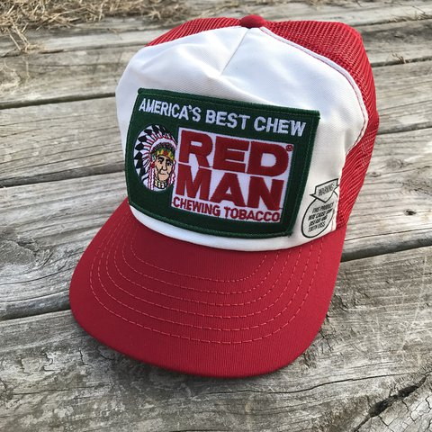 dd43bc1ce504a Vintage Red Man Chewing Tobacco Snapback Hat Snap Back Dad - Depop