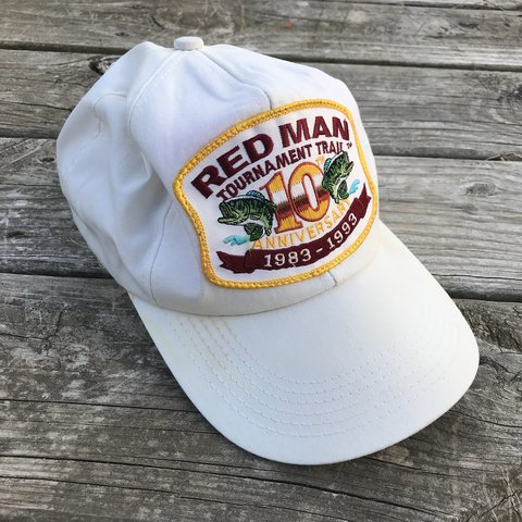 115c58a9207 Vintage Red Man Chewing Tobacco Snapback Hat Red Man Trail - Depop