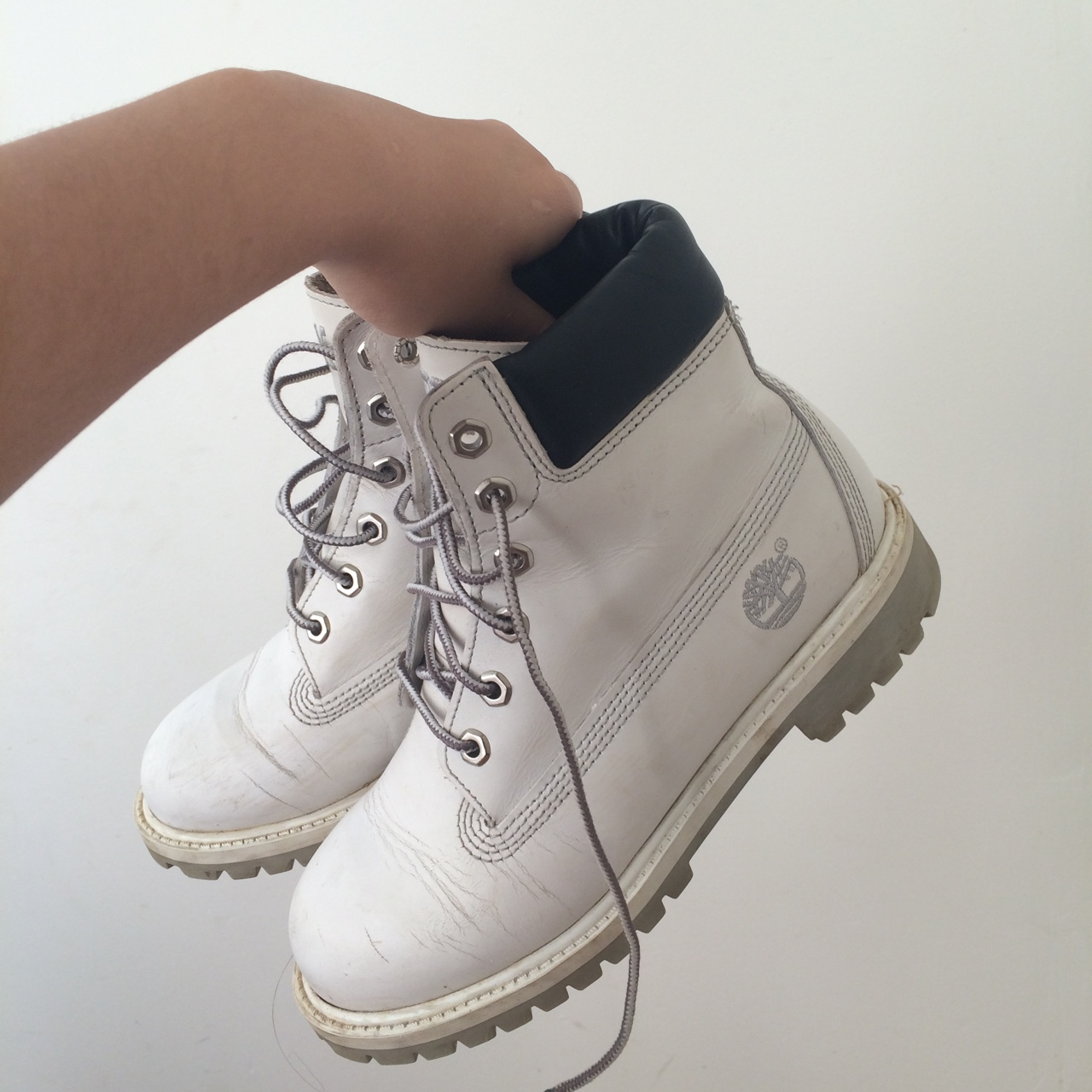 White timberlands! I had them for about a year, Depop