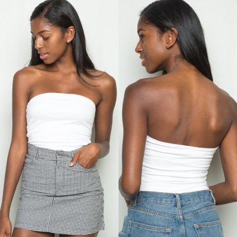 29efe7fb6c0 brandy melville white jenny tube top. new without tags!      - Depop