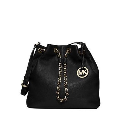 5b1ede9af7d5 @alanalork28. last year. Detroit, United States. Michael Kors Frankie  Bucket bag with gold chain drawl string and made with black genuine leather.