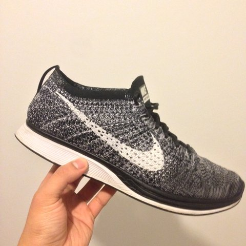 3d682049325c NIKE Flyknit Racer Oreo UK 8.5! RARE! Great condition 9 10. - Depop