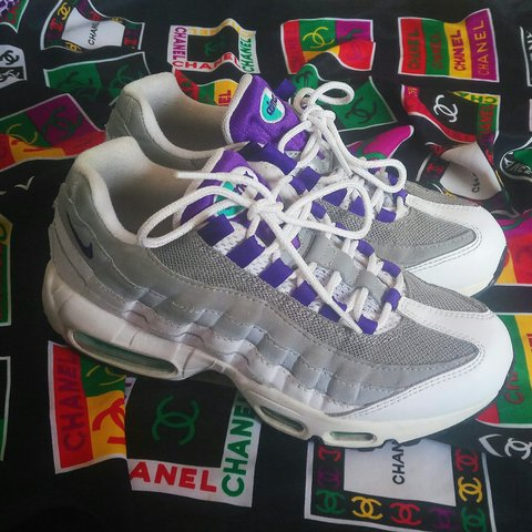 41145ddcb8 @rose_christina. 2 months ago. Birmingham, GB. Sold out Nike air Max 95  trainers in white, wolf grey and court purple ...