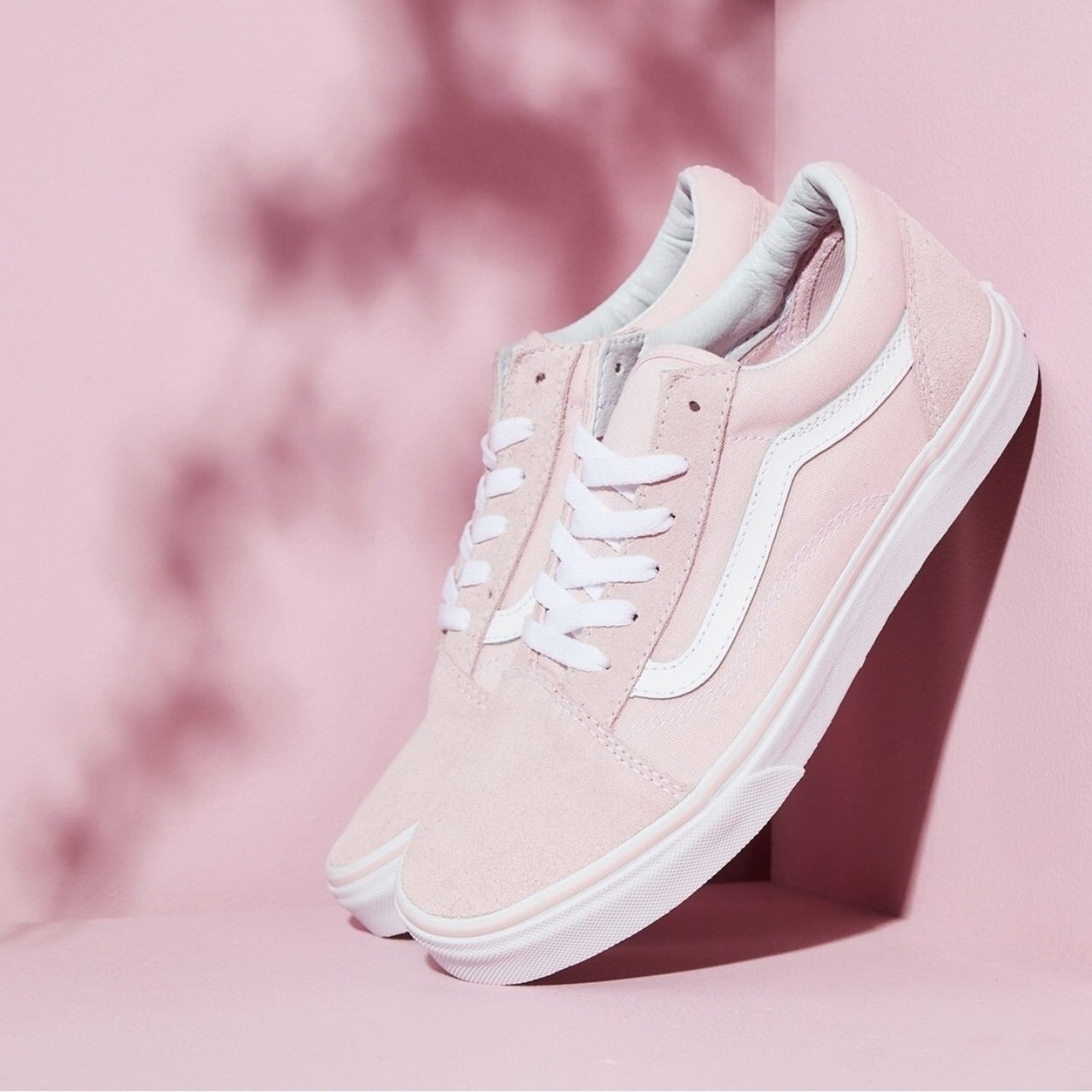 ade064cddc29 Old school baby pink vans. Only worn once as bought in wrong - Depop