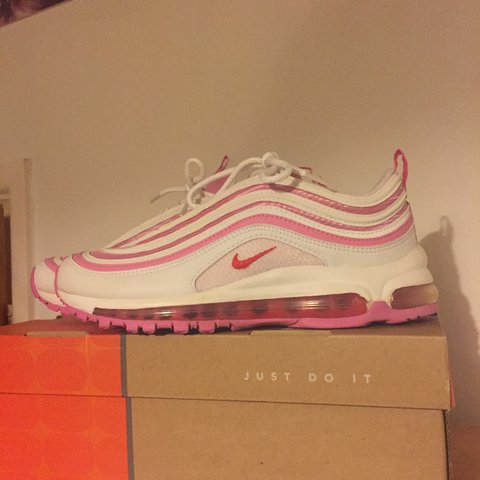 c5c9256b8d NIKE AIRMAX 97 97s reflective pink and white, red flame Worn - Depop