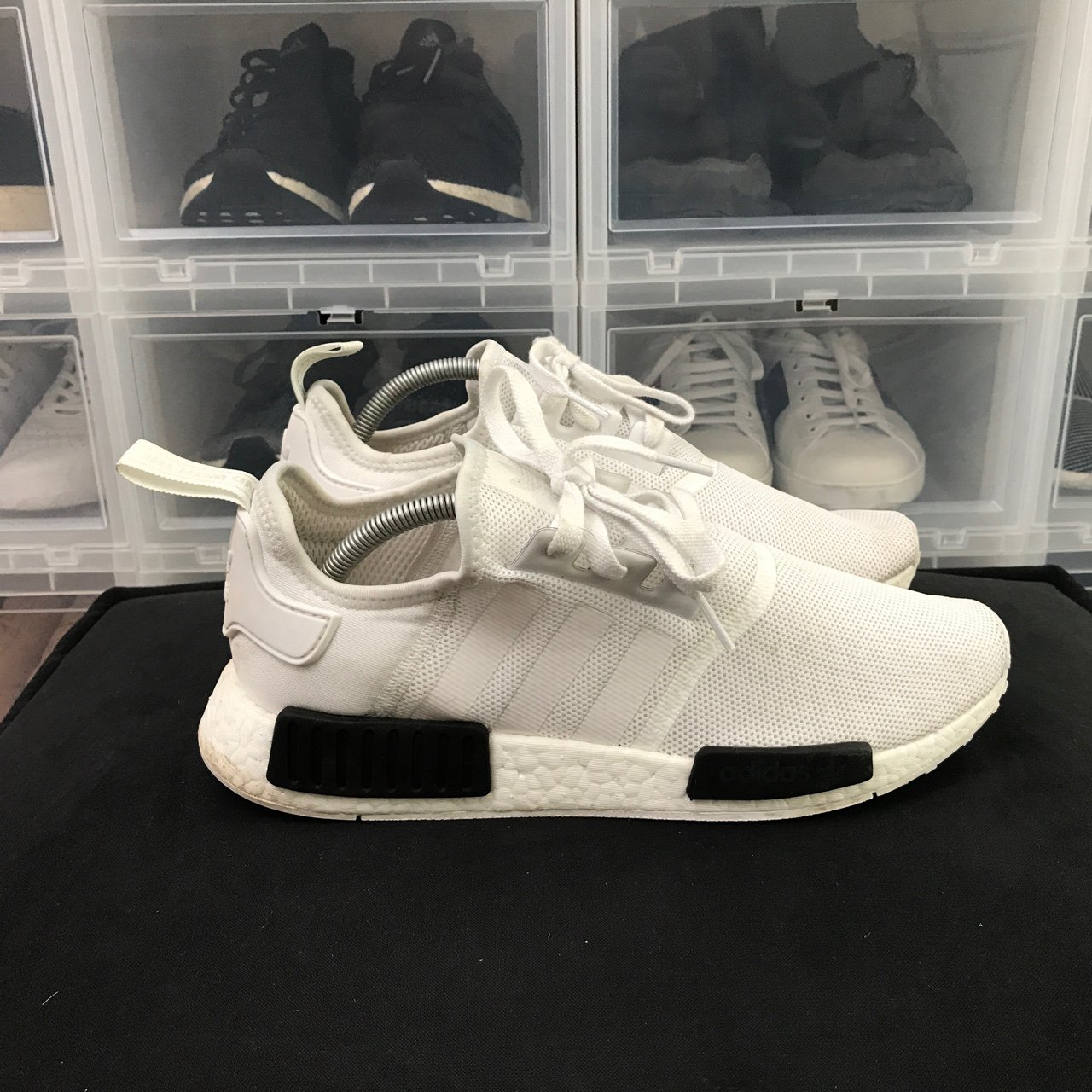 c4224da4e Adidas NMD R1 White Core Black Worn handful of times Box - Depop