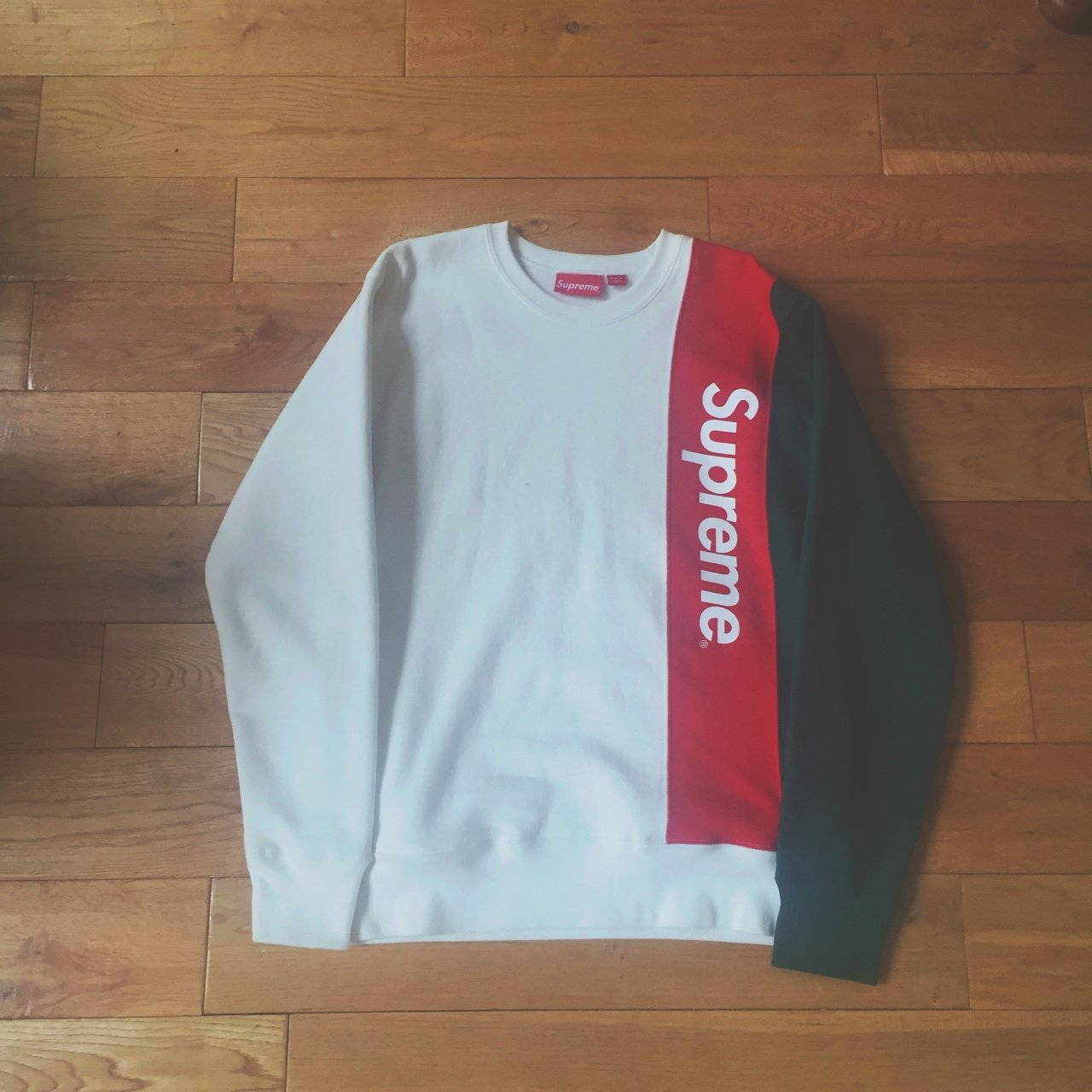 detailed look 41c55 eb8b9 Supreme panelled Crewneck in White, red and green   Size and - Depop