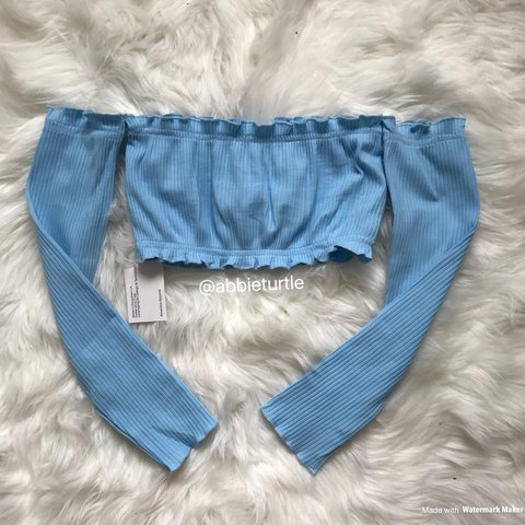66bb5664da11b 1 left!!! Bardot off shoulder extreme cropped ruffle crop in - Depop