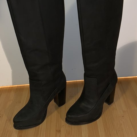 1542668c051   other stories black leather knee high boots. 20.5 inches - Depop