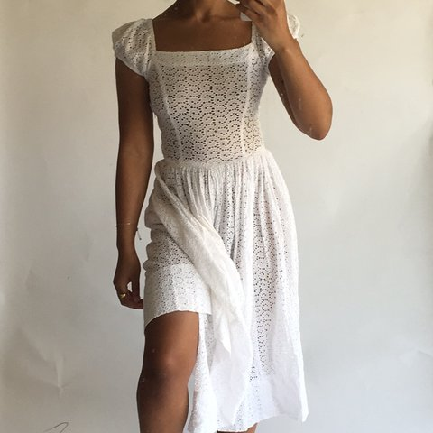 6a0589d35a6  70 shipped. Vintage white eyelet midi dress. Best for sizes - Depop