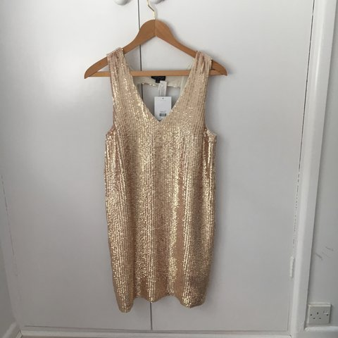 e0bc38bd new with tags!!) TOPSHOP rose gold sequin shift dress, size - Depop