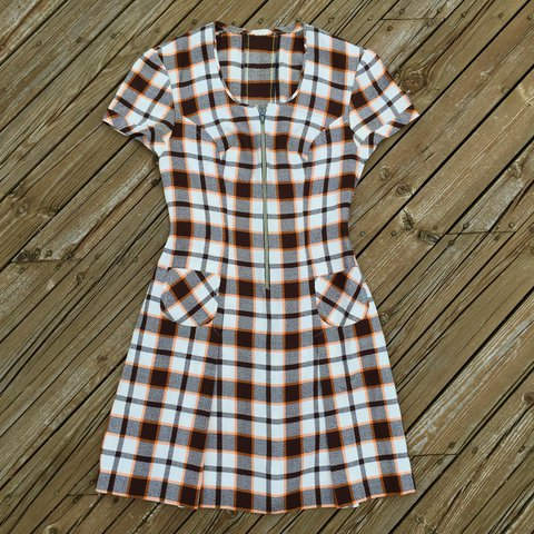 b179ea04b0829 Vintage 60s-70s pleated plaid half zip dress - brown and and - Depop