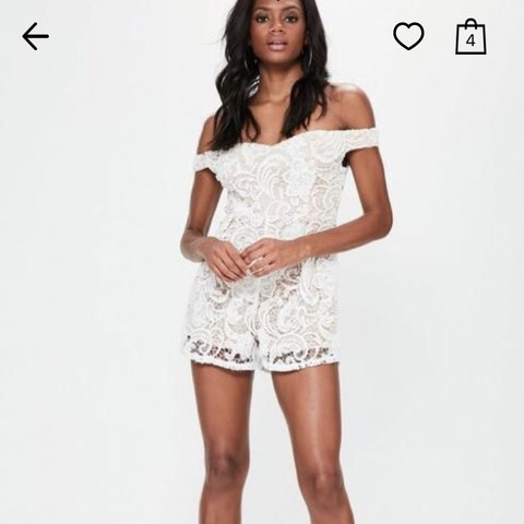 01c2799dad Missguided white cream lace playsuit size 12 Worn once 12 - Depop